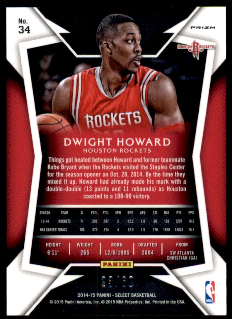 2014-15 Select Concourse Prizms Orange #34 Dwight Howard back image