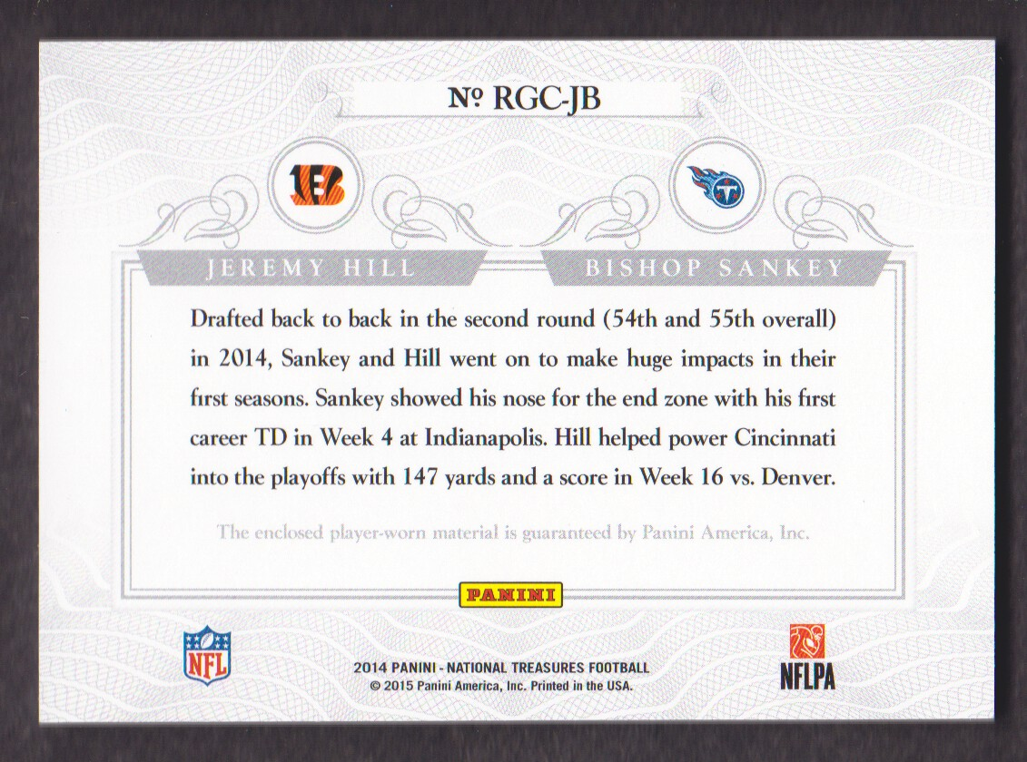 2014 Panini National Treasures Rookie NFL Gear Combo Player Materials #14 Bishop Sankey/Jeremy Hill back image