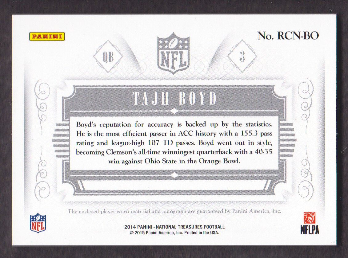 2014 Panini National Treasures Rookie Colossal Signature Materials Jersey Number #7 Tajh Boyd back image