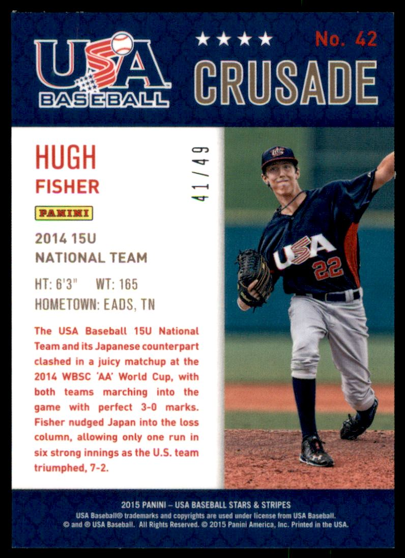 2015 USA Baseball Stars and Stripes Crusade Red and Blue #42 Hugh Fisher back image