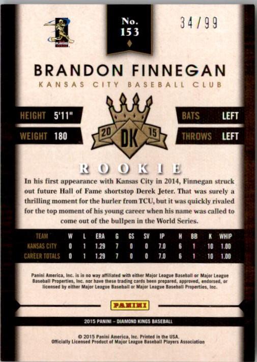 2015 Diamond Kings Framed Blue #153 Brandon Finnegan back image