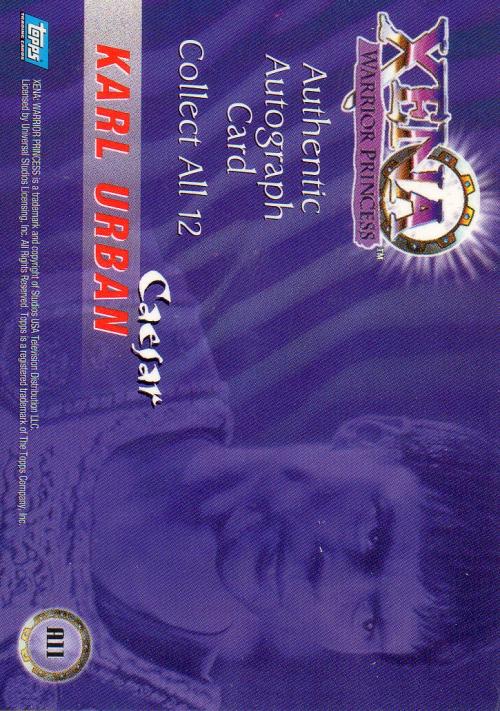 1998 Xena Warrior Princess Series Two Autographs #A11 Karl Urban back image