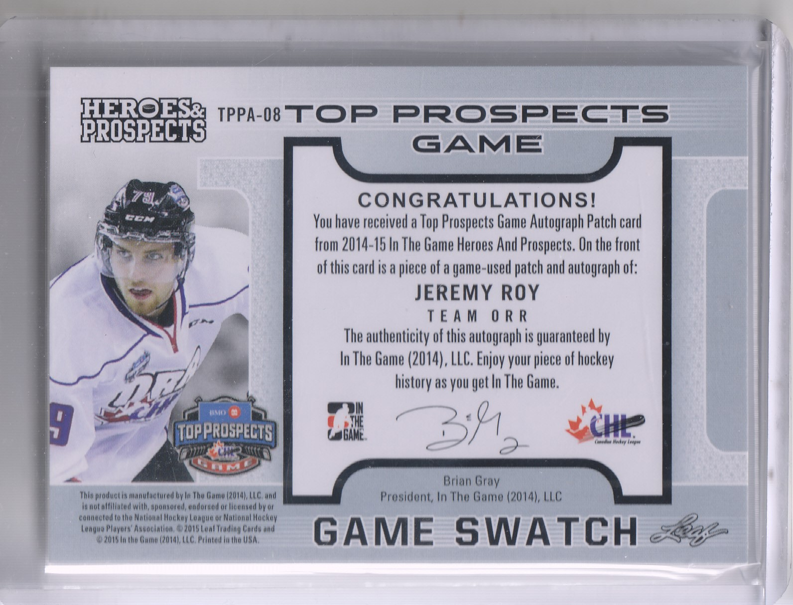2014-15 ITG Heroes and Prospects Top Prospects Jersey Patches Autographs Gold #JR1 Jeremy Roy back image