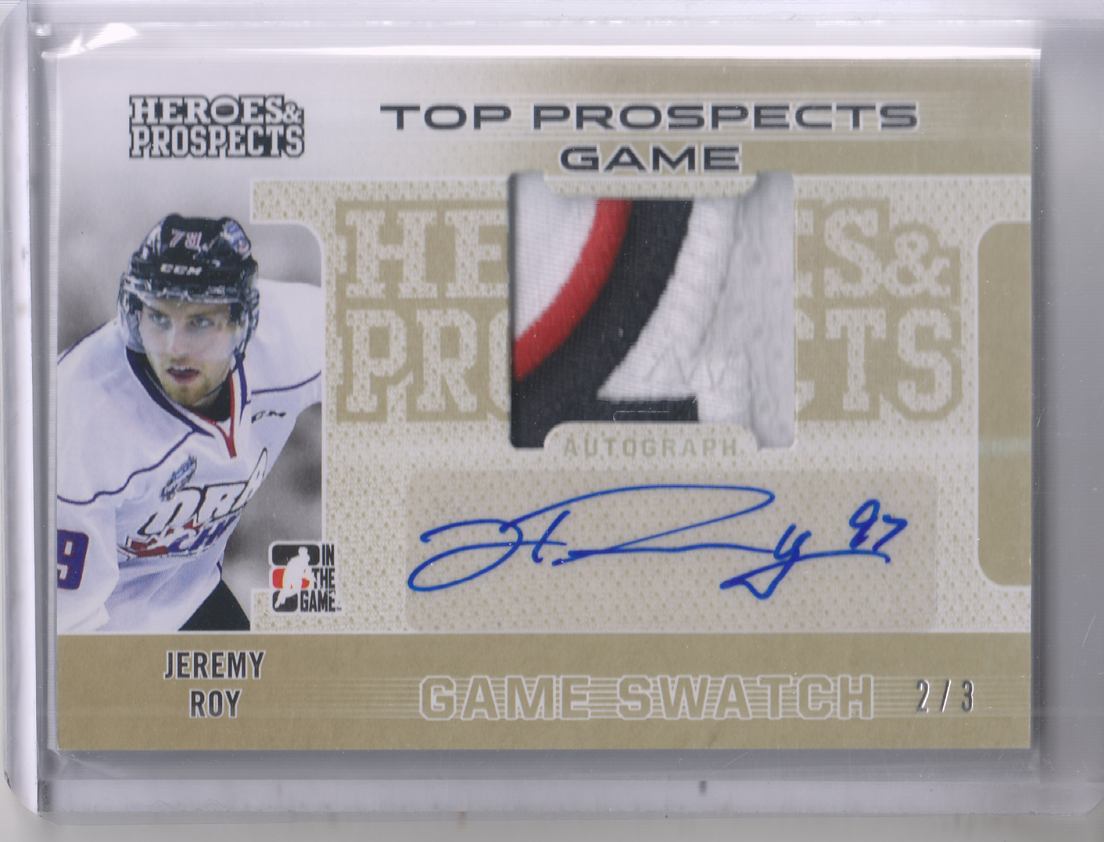 2014-15 ITG Heroes and Prospects Top Prospects Jersey Patches Autographs Gold #JR1 Jeremy Roy
