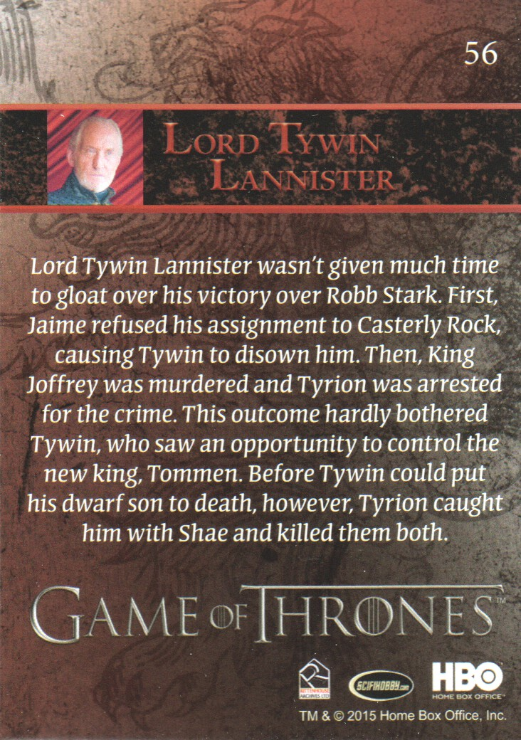 2015 Game of Thrones Season 4 Trading Card FOIL #65 Gilly