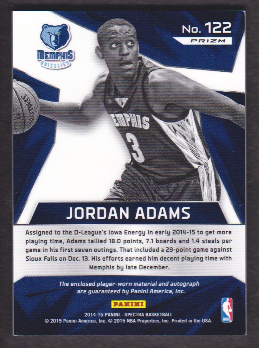 2014-15 Panini Spectra #122 Jordan Adams JSY AU RC back image