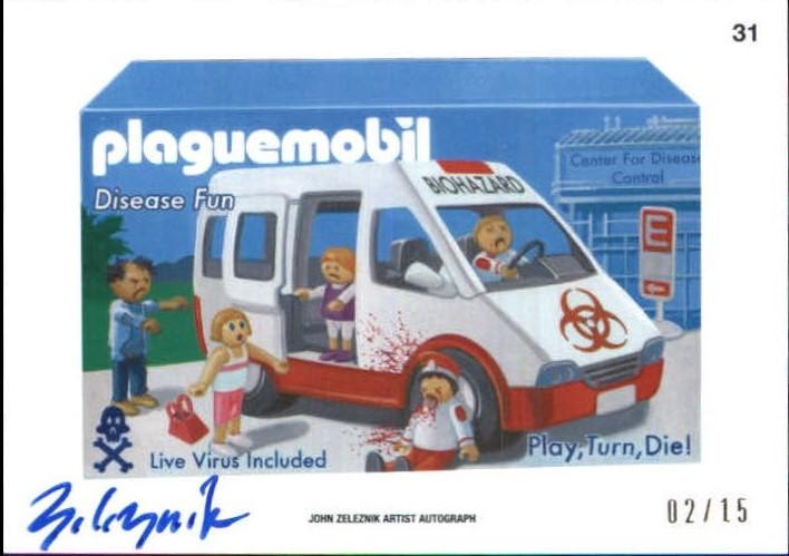 2015 Wacky Packages Series One Artist Autographs #31 Plaguemobil/John Zeleznik