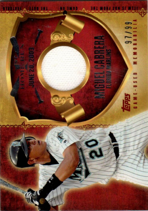 2015 Topps First Home Run Relics #FHRRMC Miguel Cabrera S2