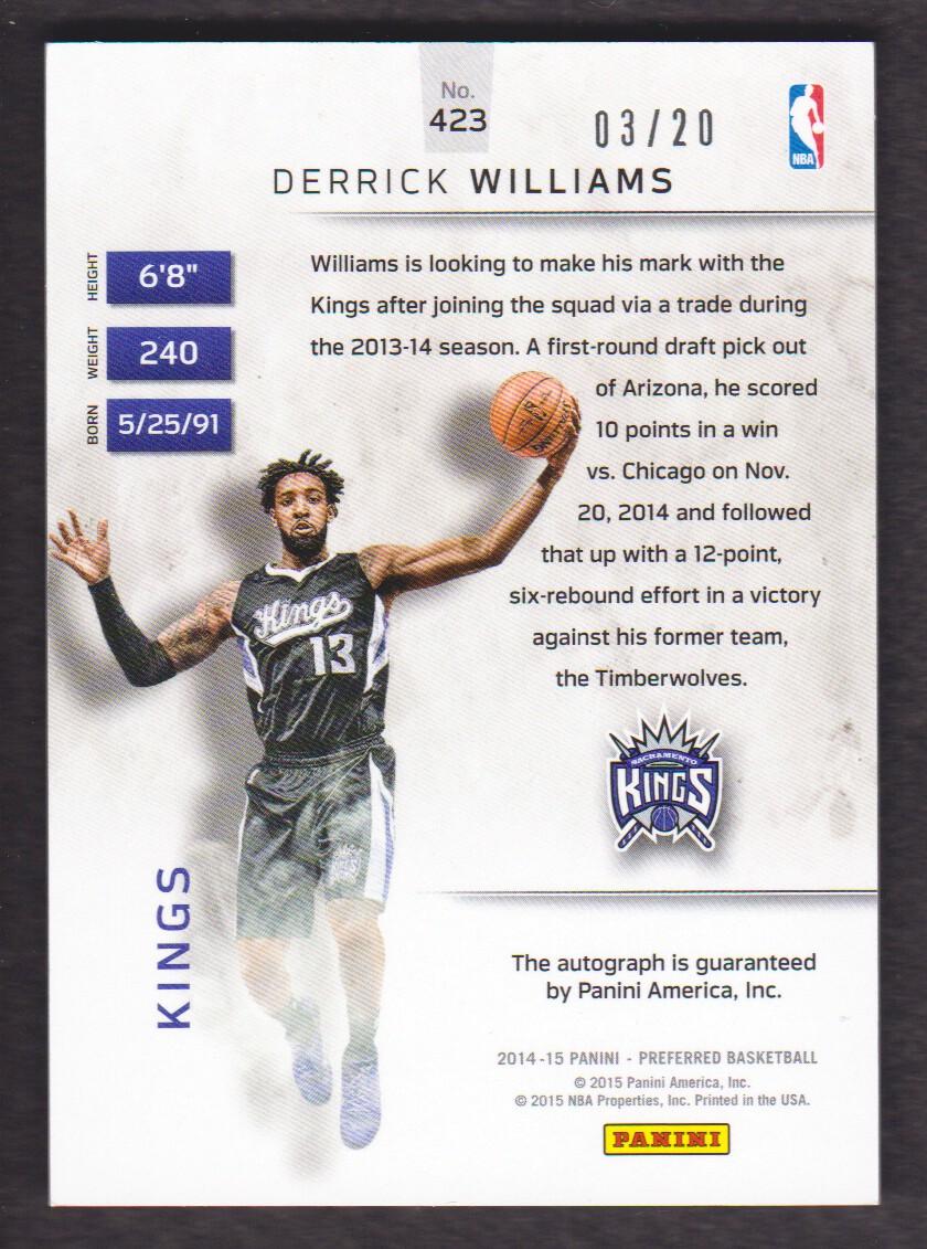 2014-15 Panini Preferred Purple #423 Derrick Williams PS AU back image