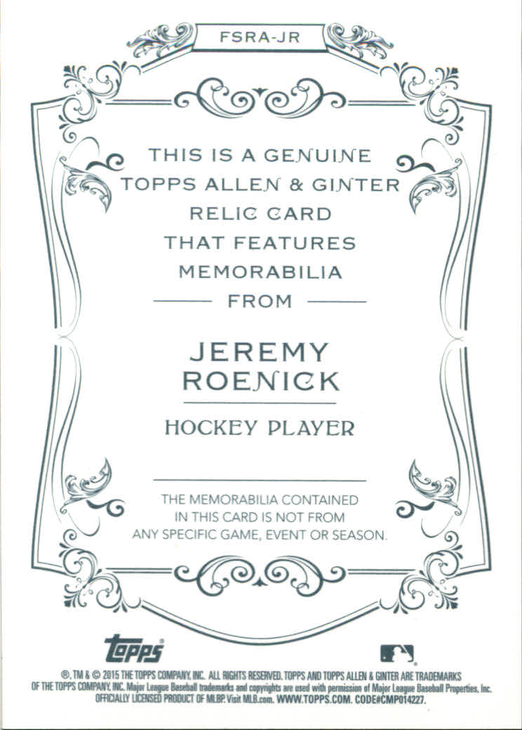 2015 Topps Allen and Ginter Relics #FSRAJR Jeremy Roenick A back image