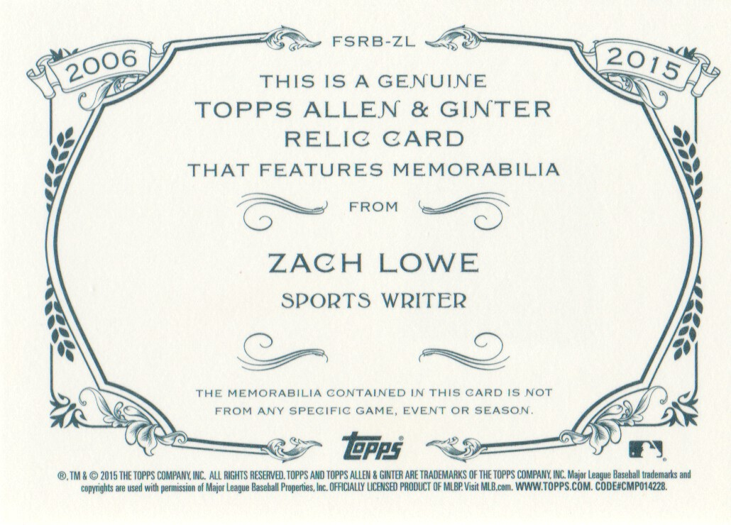 2015 Topps Allen and Ginter Relics #FSRBZL Zach Lowe B back image