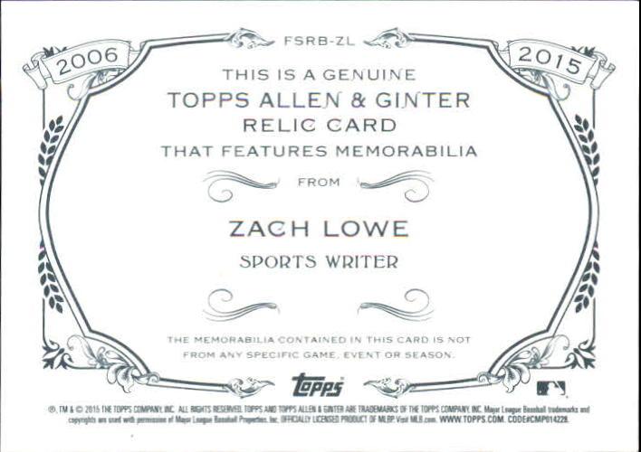2015 Topps Allen and Ginter Relics #FSRBZL Zach Lowe B back image