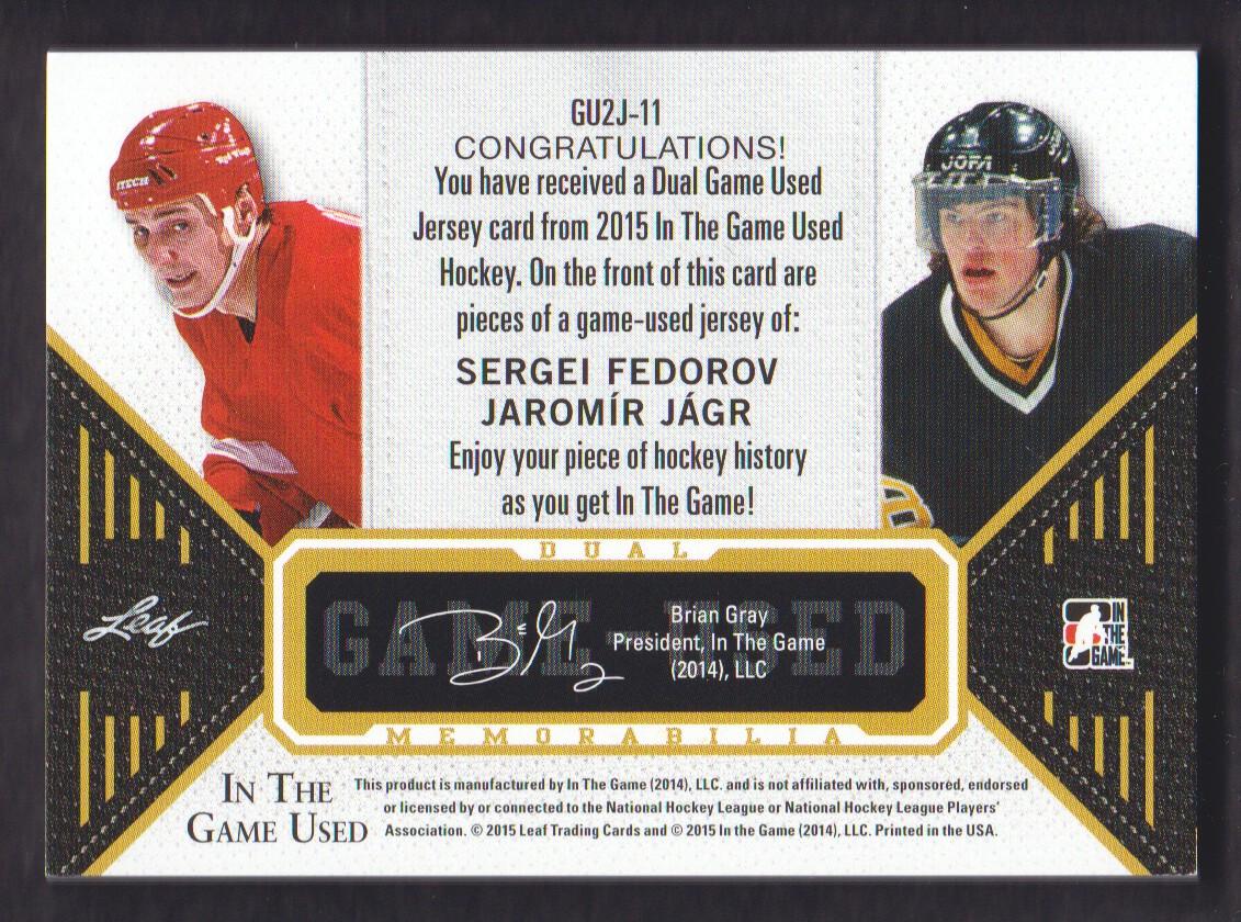 2015-16 ITG Used Jerseys Dual Gold #GU2J11 Sergei Fedorov/Jaromir Jagr/25 back image