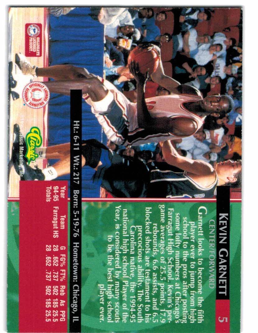 1995 Classic Gold Foil #5 Kevin Garnett back image