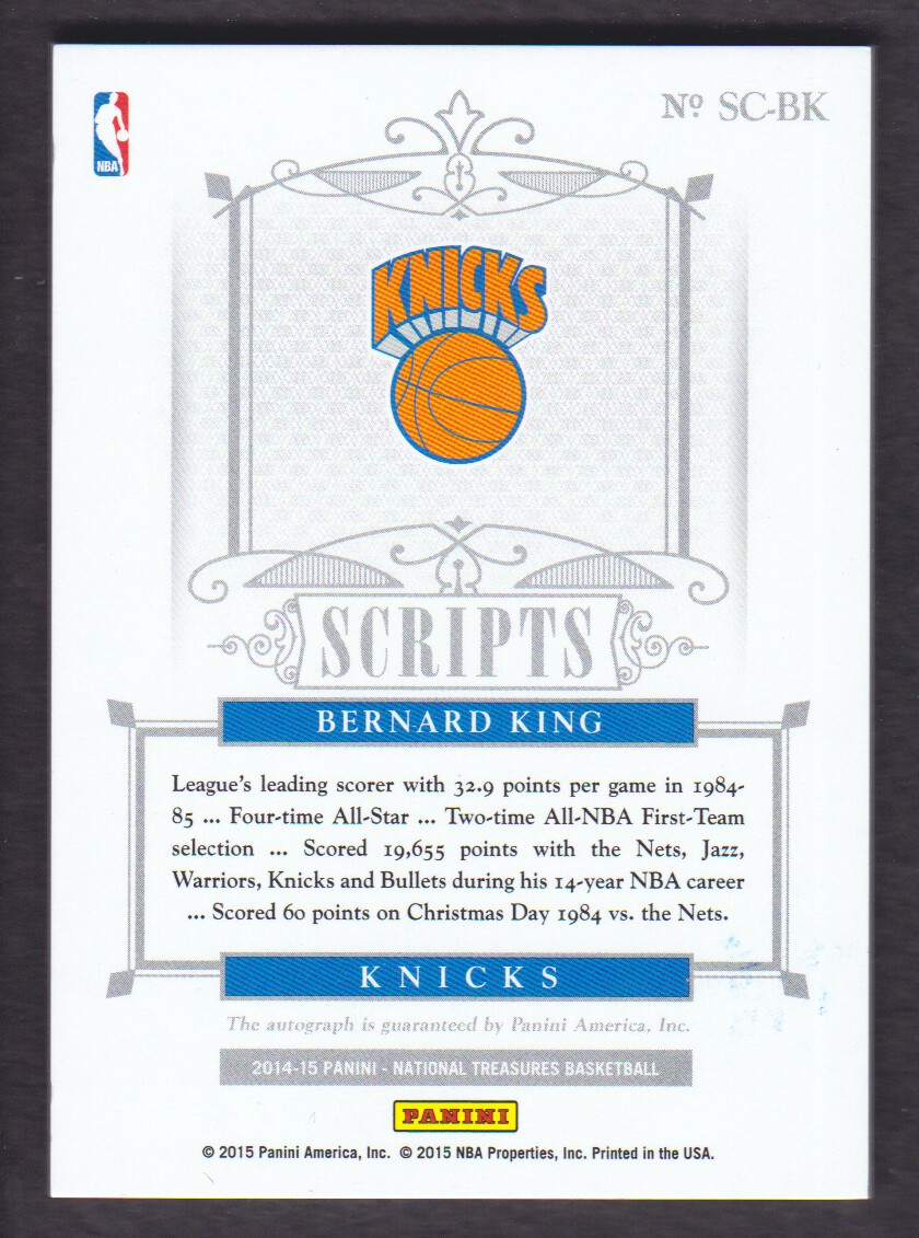 2014-15 Panini National Treasures Scripts Gold Proof #SCBK Bernard King/25 back image