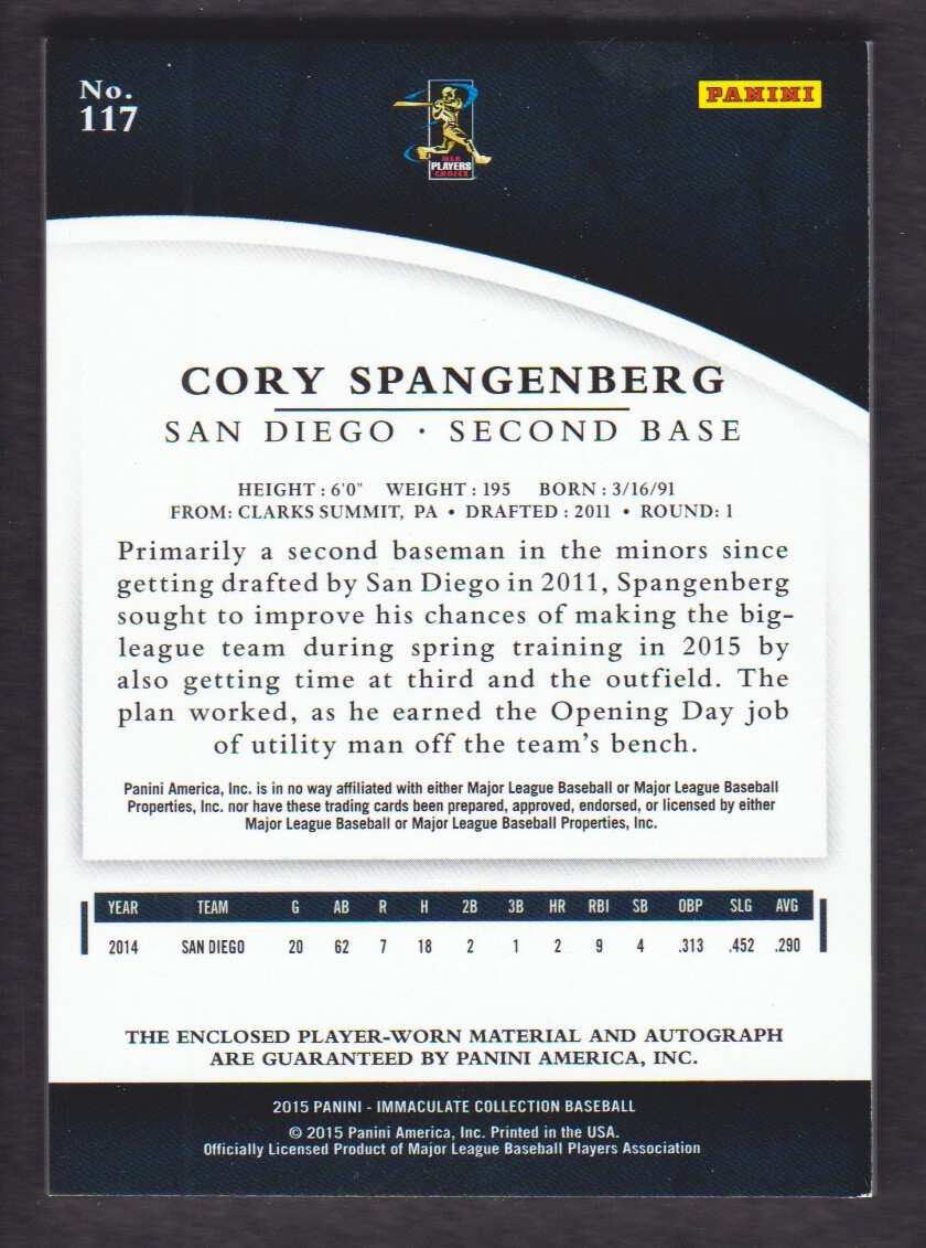 2015 Immaculate Collection Rookie Autographs Materials Prime #117 Cory Spangenberg/99 back image