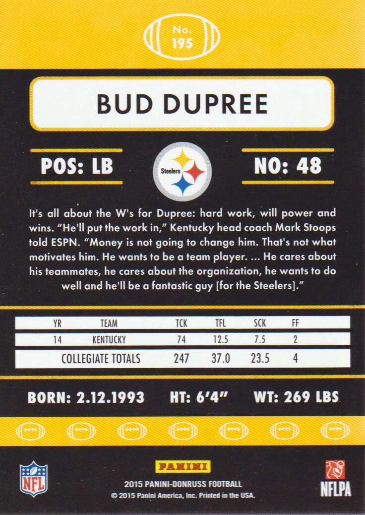 eb4a75086 2015 Donruss Football  195 Bud Dupree RC Pittsburgh Steelers. Front. Back