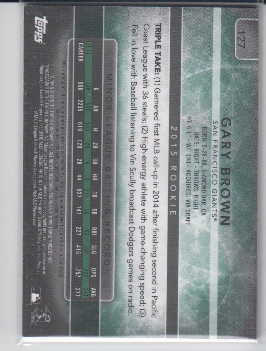 2015 Topps Triple Threads Emerald #127 Gary Brown JSY AU back image