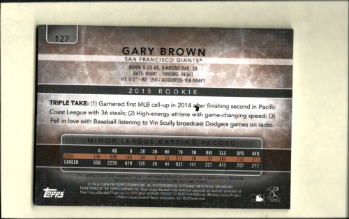 2015 Topps Triple Threads Sepia #127 Gary Brown JSY AU back image