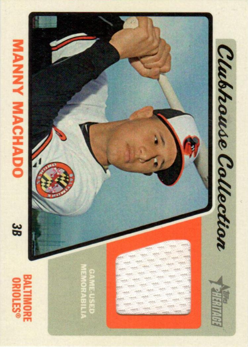 2015 Topps Heritage Clubhouse Collection Relics #CCRMM Manny Machado HN