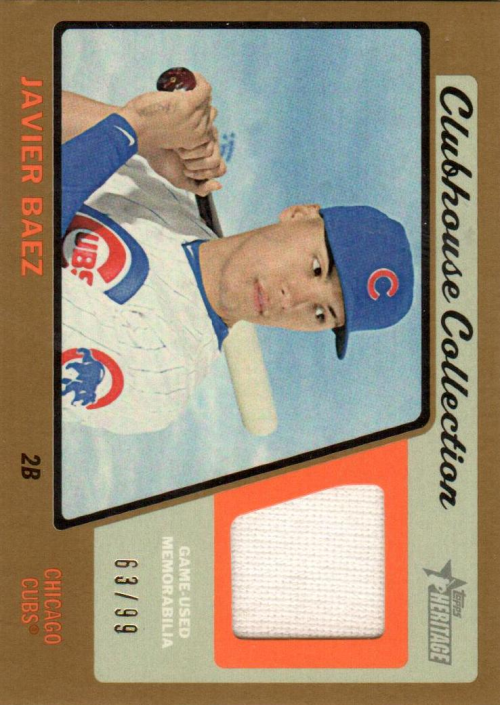 2015 Topps Heritage Clubhouse Collection Relics Gold #CCRJB Javier Baez HN