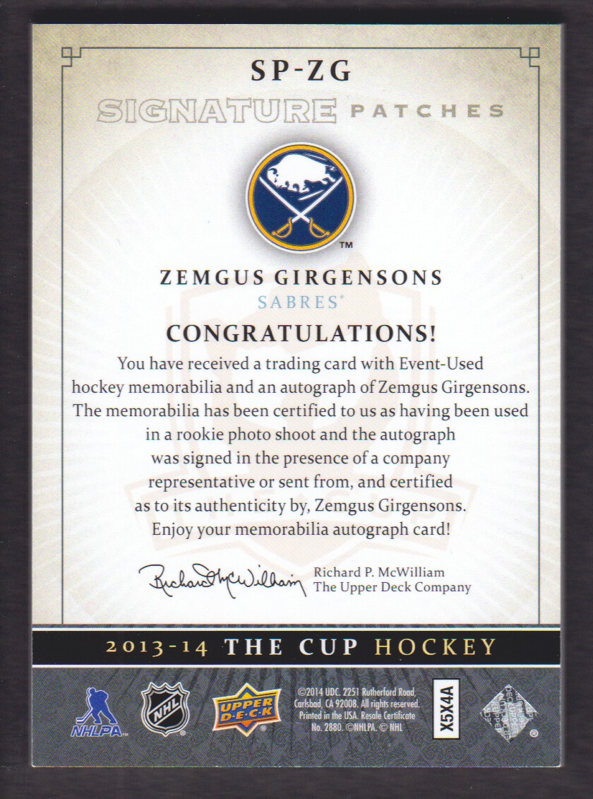 2013-14 The Cup Signature Patches #SPZG Zemgus Girgensons/99/(inserted in 14-15 The Cup) back image