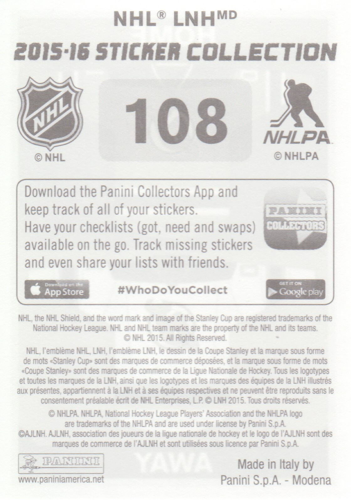 2015-16-Panini-Stickers-NHL-Hockey-Pick-From-List
