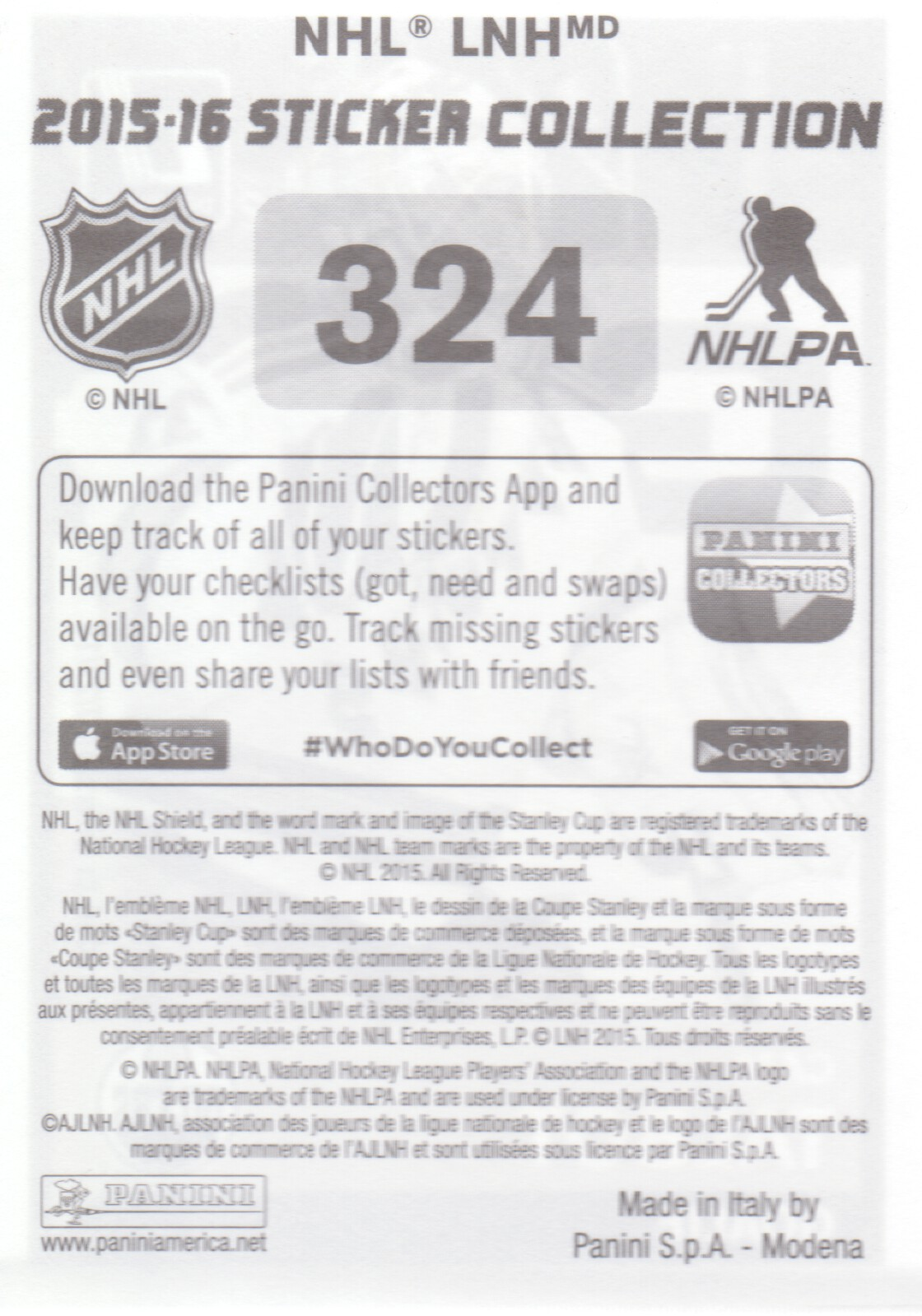 2015-16-Panini-Stickers-NHL-Hockey-Pick-From-List