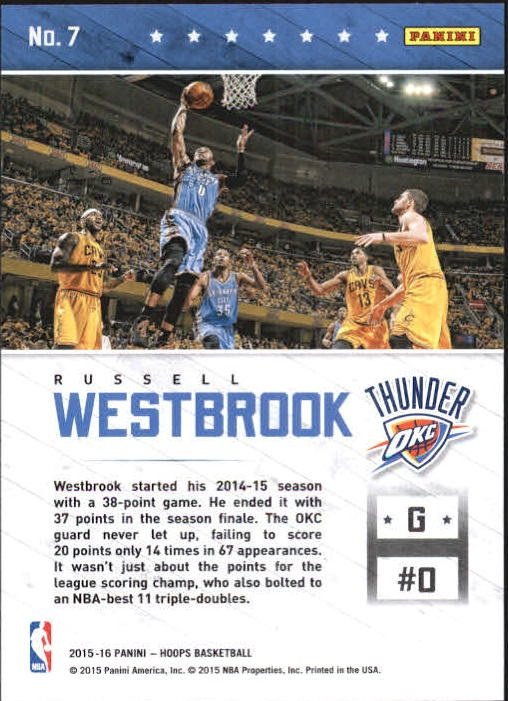 2015-16 Hoops Courtside #7 Russell Westbrook back image
