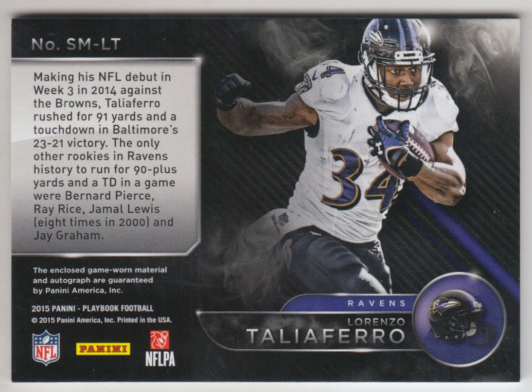 2015 Panini Playbook Signature Materials #18 Lorenzo Taliaferro/125 back image