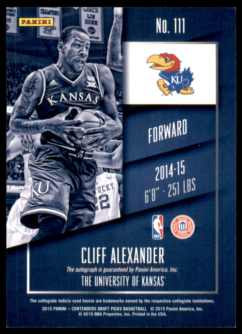 2015-16 Panini Contenders Draft Picks Draft Ticket Blue Foil #111B Cliff Alexander AU/Facing left back image