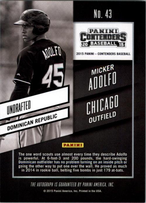 2015 Panini Contenders Prospect Ticket Autographs #43 Micker Adolfo back image