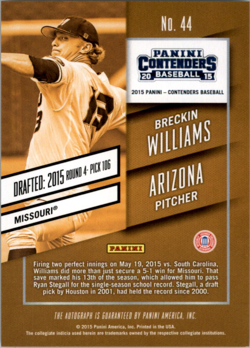 2015 Panini Contenders Prospect Ticket Autographs #44 Breckin Williams back image
