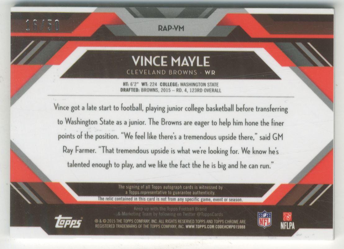 2015 Topps Chrome Rookie Autographs Patches #RAPVM Vince Mayle/50 back image