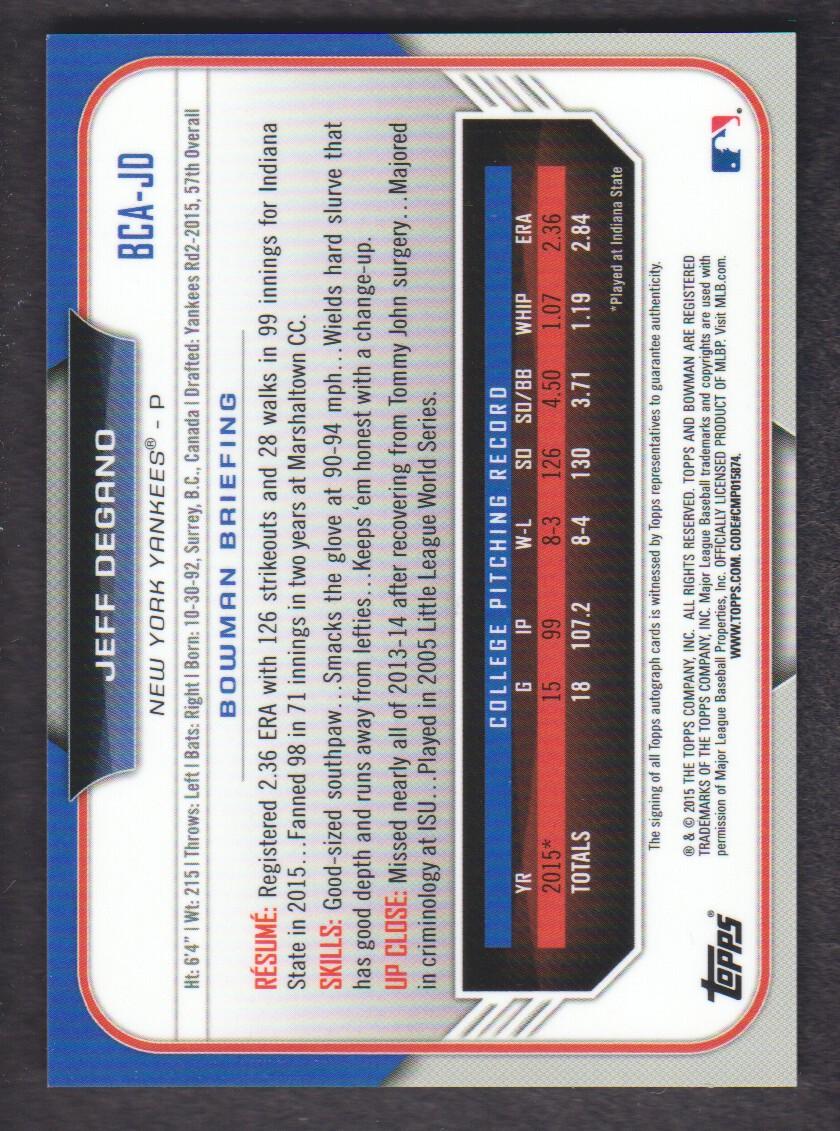 Verzamelkaarten: sport 2015 Bowman Draft #BCA-JD Jeff Degano New York Yankees Auto Rookie Baseball Card Verzamelkaarten, ruilkaarten
