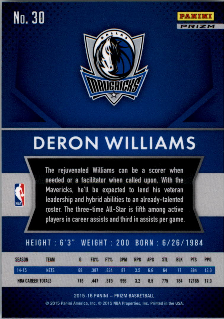 2015-16 Panini Prizm Prizms Flash #30 Deron Williams back image