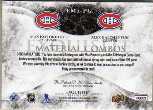 2015-16 Exquisite Collection Materials Combos #EM2PG Max Pacioretty/Alex Galchenyuk back image