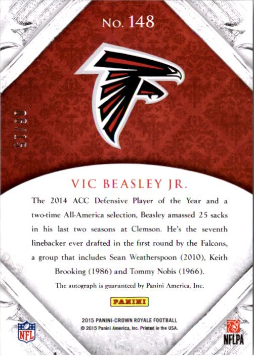 2015 Crown Royale Premier Date #148 Vic Beasley Jr. AU back image