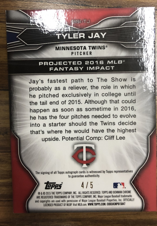 2015 Bowman Chrome Draft Scouts Fantasy Impacts Autographs Red Refractors #BSITJ Tyler Jay back image