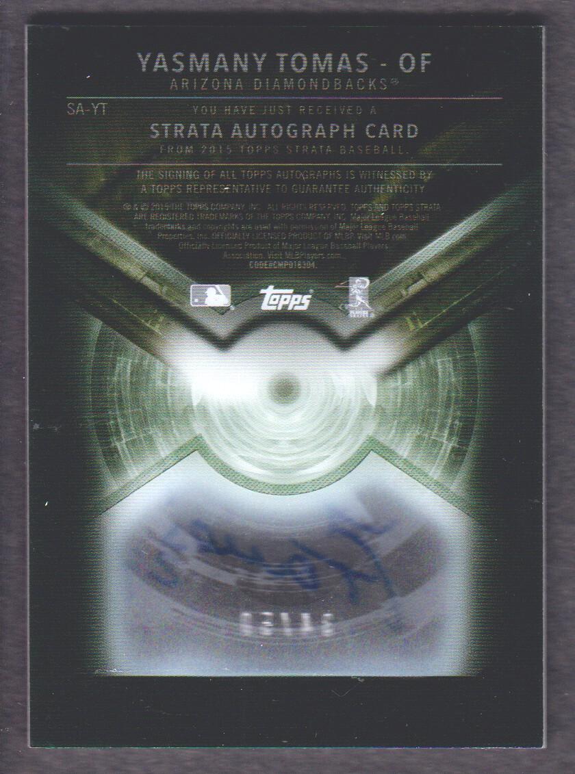 2015 Topps Strata Autographs Black #SAYT Yasmany Tomas back image