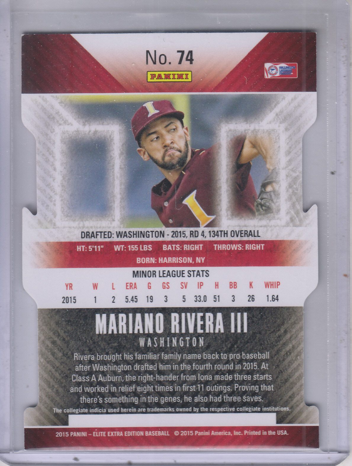 2015 Elite Extra Edition Aspirations Die Cut #74 Mariano Rivera III back image