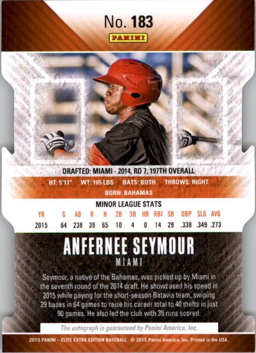 2015 Elite Extra Edition Prospect Autographs Status Purple Die Cut #183 Anfernee Seymour back image
