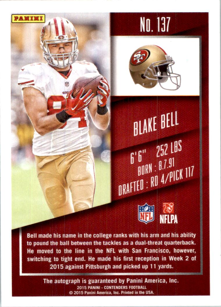 2015 Panini Contenders Championship Ticket #137A Blake Bell AU/99 back image