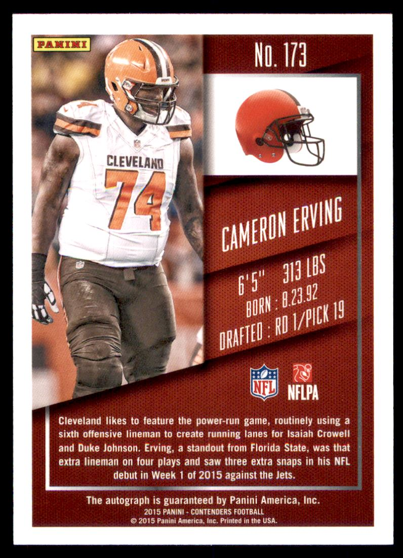 2015 Panini Contenders Championship Ticket #173A Cameron Erving AU/99 back image