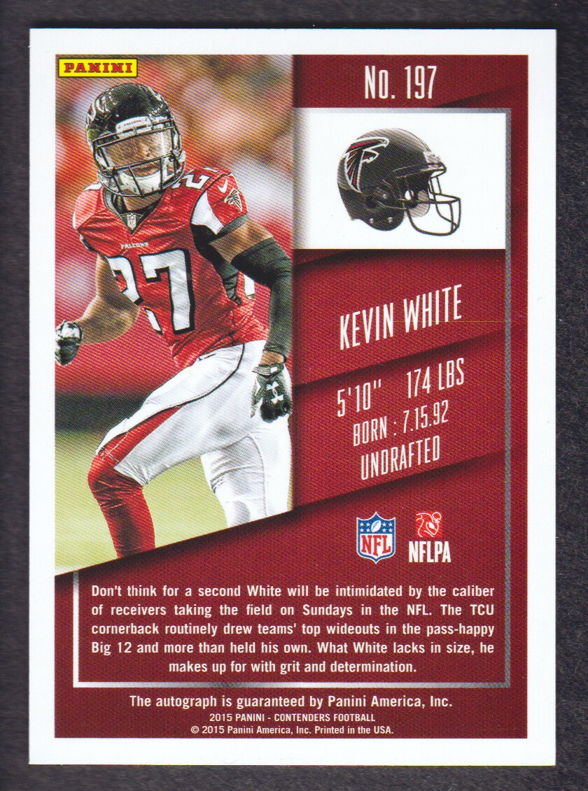 2015 Panini Contenders Championship Ticket #197 Kevin White AU/99 back image
