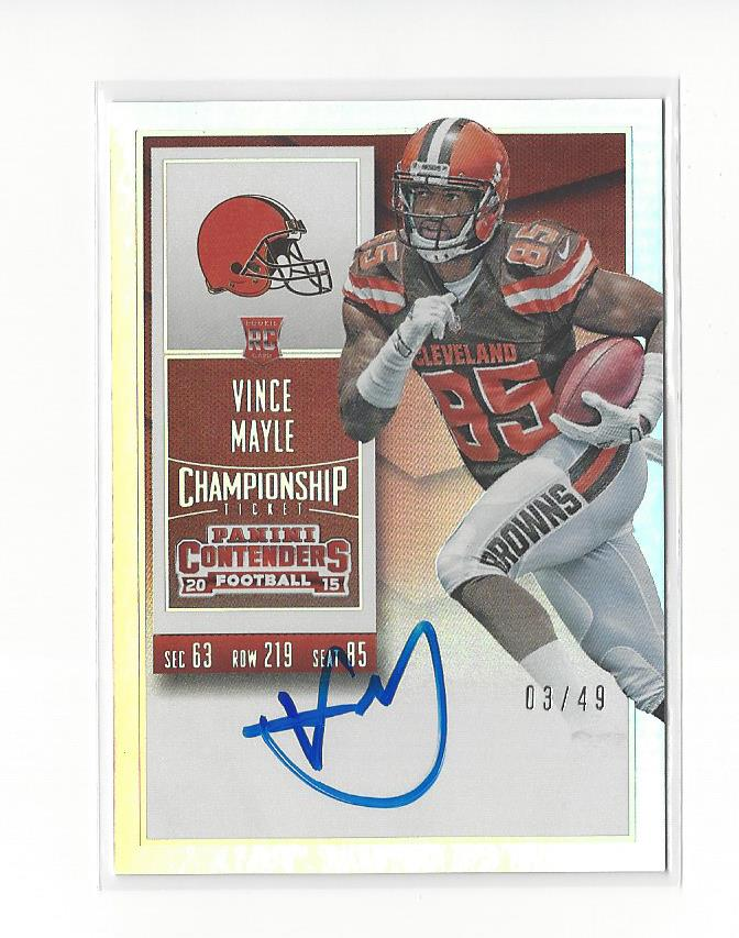 2015 Panini Contenders Championship Ticket #241B Vince Mayle AU/49