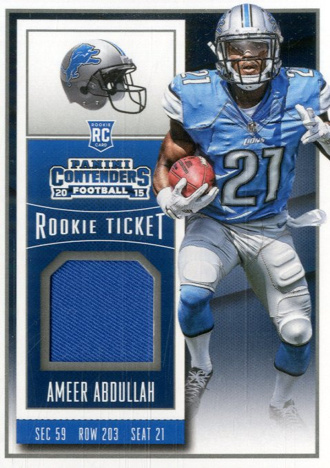 watch 12c89 97373 Details about 2015 Panini Contenders Rookie Ticket Swatches Card #34 Ameer  Abdullah Jersey