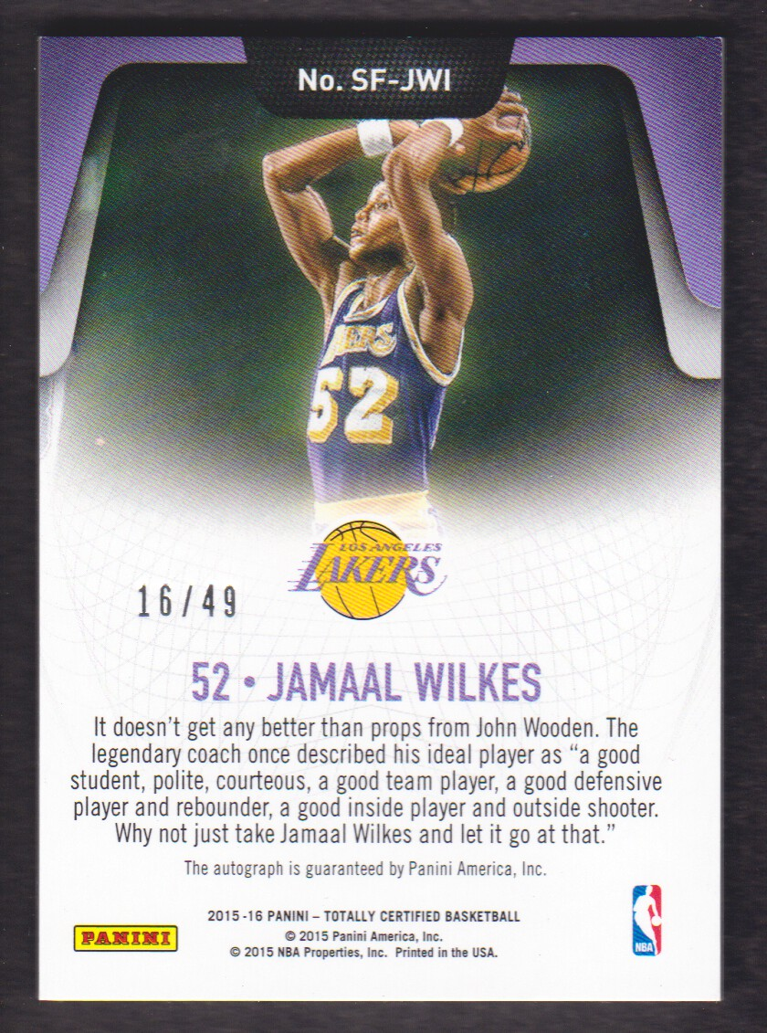 2015 16 Totally Certified Select Few Signatures Jamaal Wilkes Auto