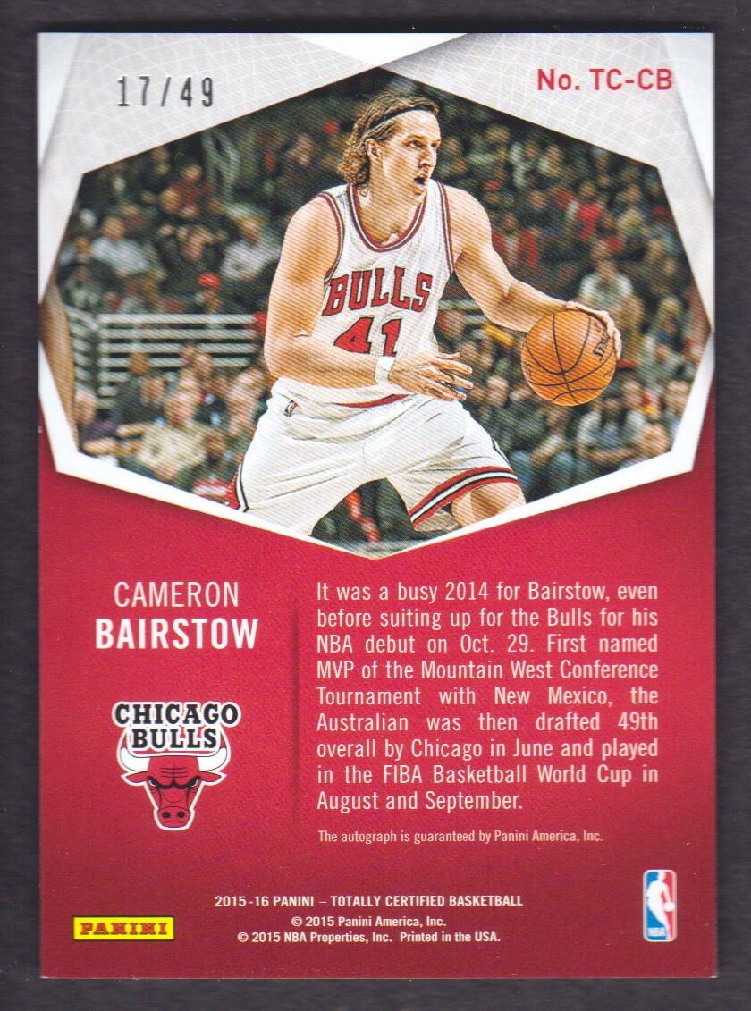 2015-16 Totally Certified Signatures #TCCB Cameron Bairstow/49 back image