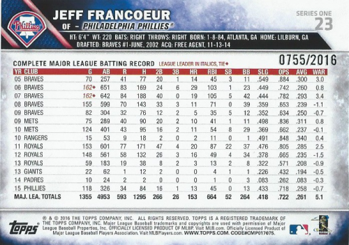 2016 Topps Gold #23 Jeff Francoeur back image